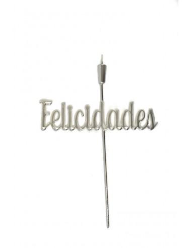 """Topper """"Felicidades"""" 28cm plateado"""