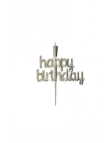 "Topper ""Happy Birthday"" 18cm plateado"