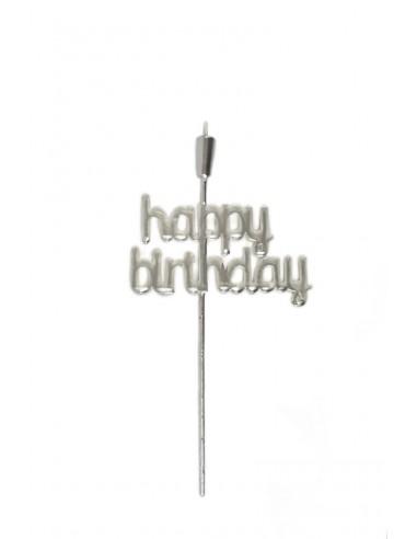 "Topper ""Happy Birthday"" 28cm plateado"