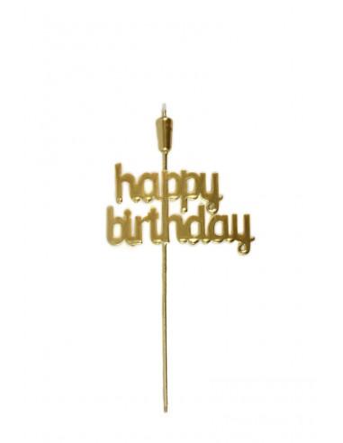 """Topper """"Happy Birthday"""" 28cm dorado"""